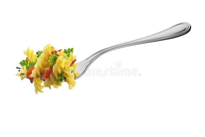 叉子用fusilli面团硬花甘蓝蕃茄和芳香草本 免版税库存照片