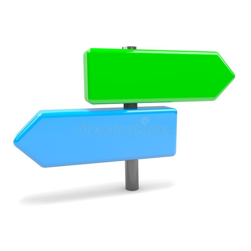 叉子箭头路标 库存例证