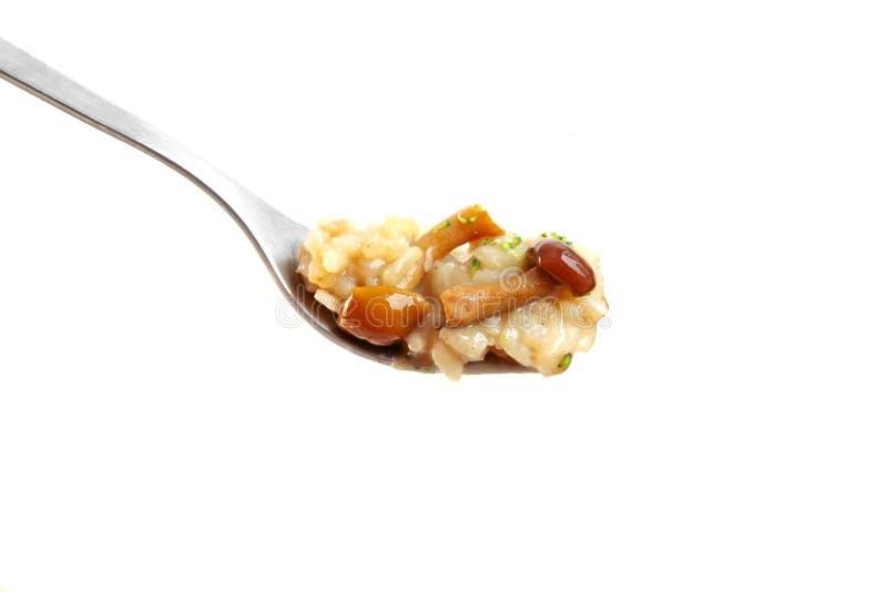 叉子蘑菇意大利煨饭 免版税库存图片