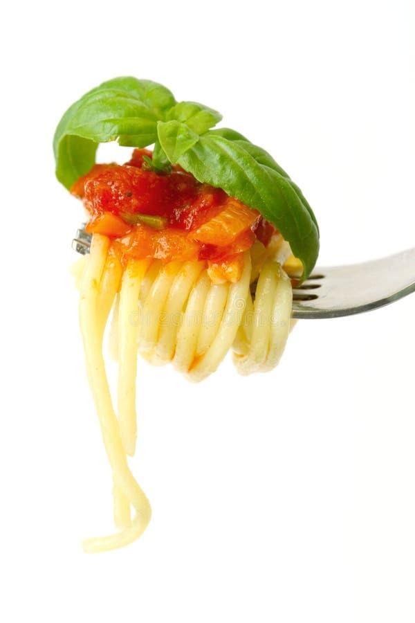 叉子调味汁意粉蕃茄 库存照片