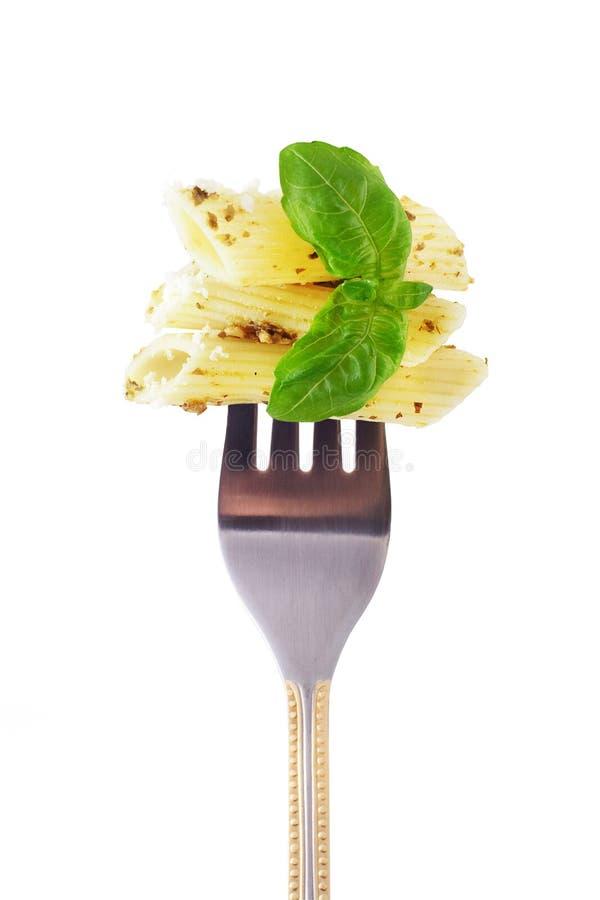 叉子pesto快餐 库存图片