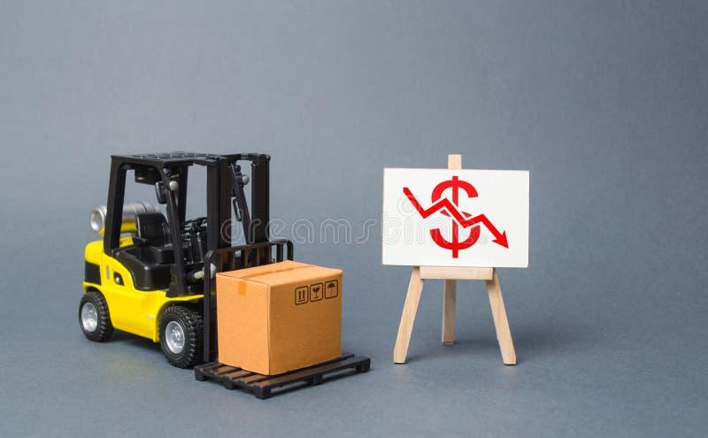 叉架起货车在与下来一个红色美元箭头的一个立场附近运载一个纸板箱 在物品和产品的生产的衰落 免版税库存照片