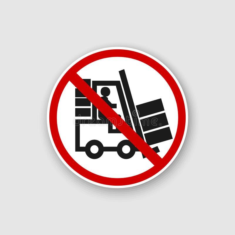 叉架起货车标志 威胁戒备的标志 危险警告象 有人象征的剪影的黑推力卡车 库存例证