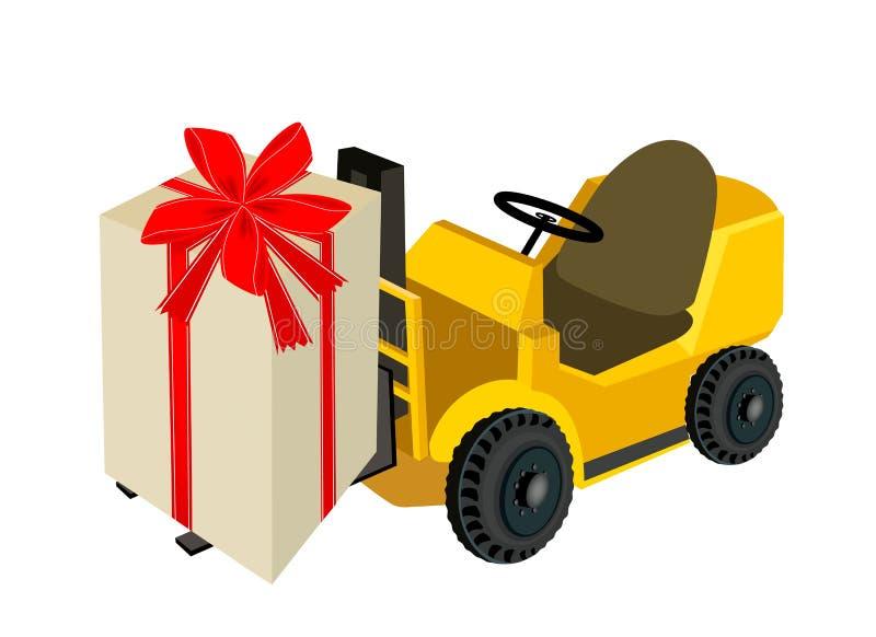 叉架起货车装载的美丽的礼物盒 向量例证