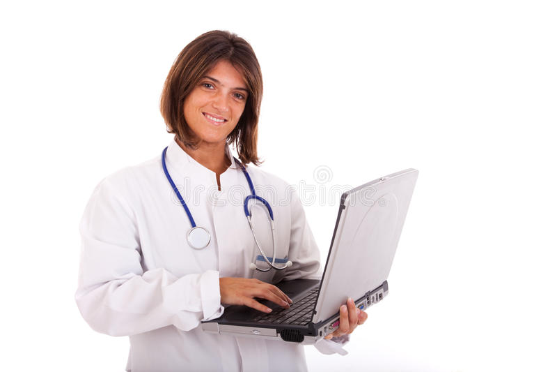 友好医生的女性 免版税库存图片