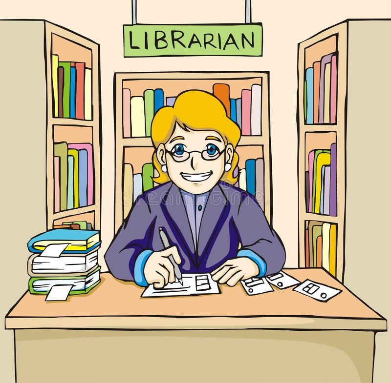 友好图书管理员 皇族释放例证