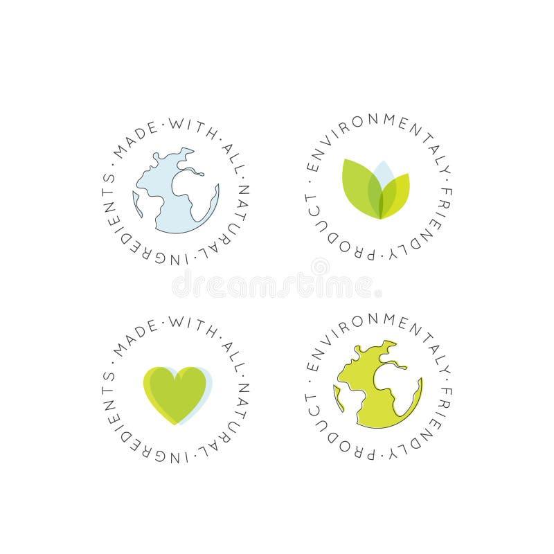 友好徽章集合的素食主义者,新鲜被证明的有机,不伤环境, Eco产品,自然生物成份标签徽章 皇族释放例证