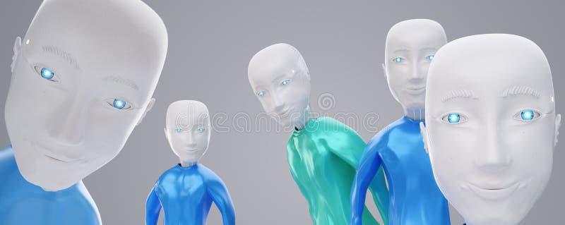 友好快乐的机器人群3D图 向量例证