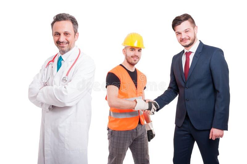 友好的工程师和企业家握手 免版税图库摄影