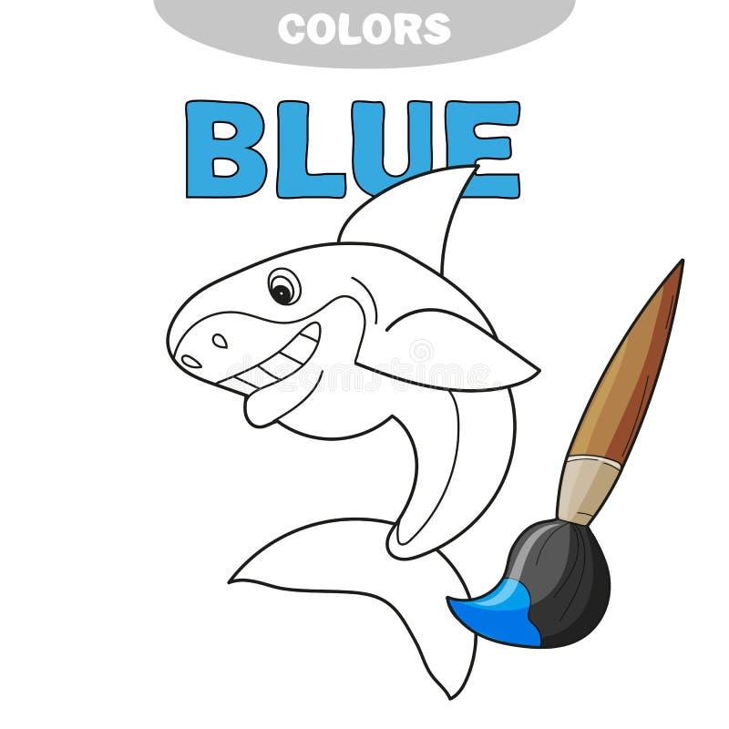 友好的快乐的种类微笑的鲨鱼-着色的页 皇族释放例证