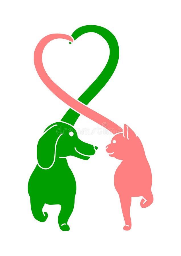 友好的猫和狗商标设计 库存照片