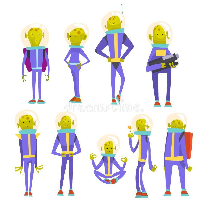 友好的绿色外籍人集合、滑稽的有人的特点的卡通人物在蓝色航天服和盔甲传染媒介例证 皇族释放例证