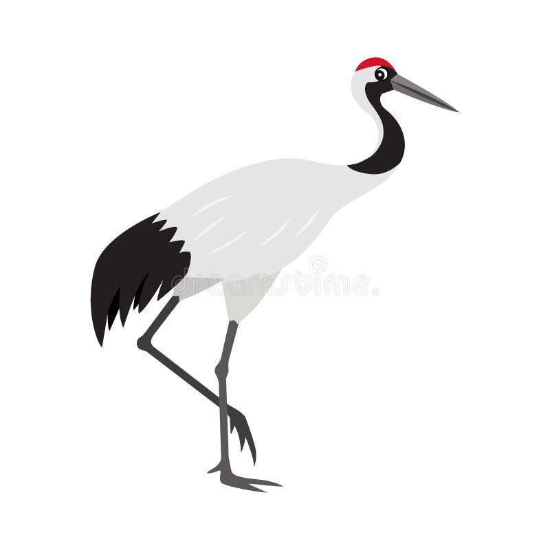 友好的逗人喜爱的红被加冠的或日本起重机象,五颜六色的野生鸟 库存例证
