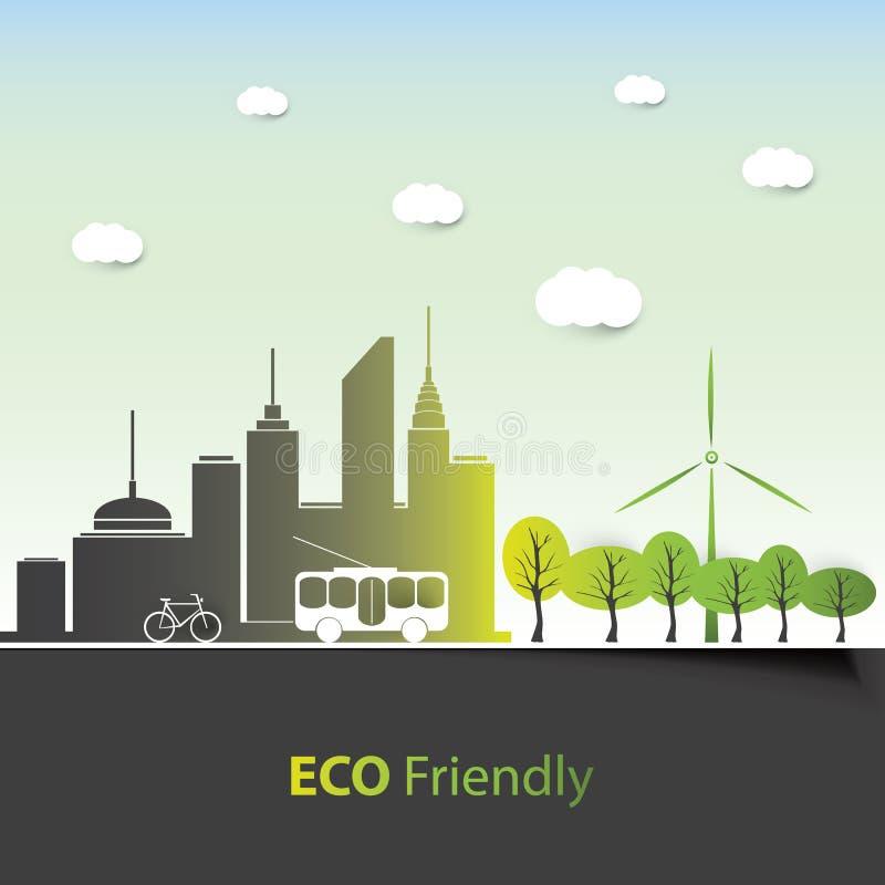 友好的Eco -背景设计 库存例证