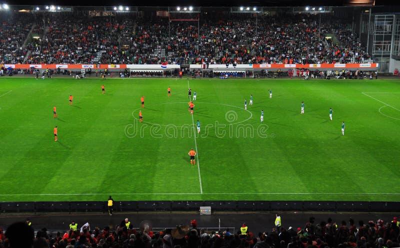 友好符合墨西哥荷兰足球与 免版税库存照片