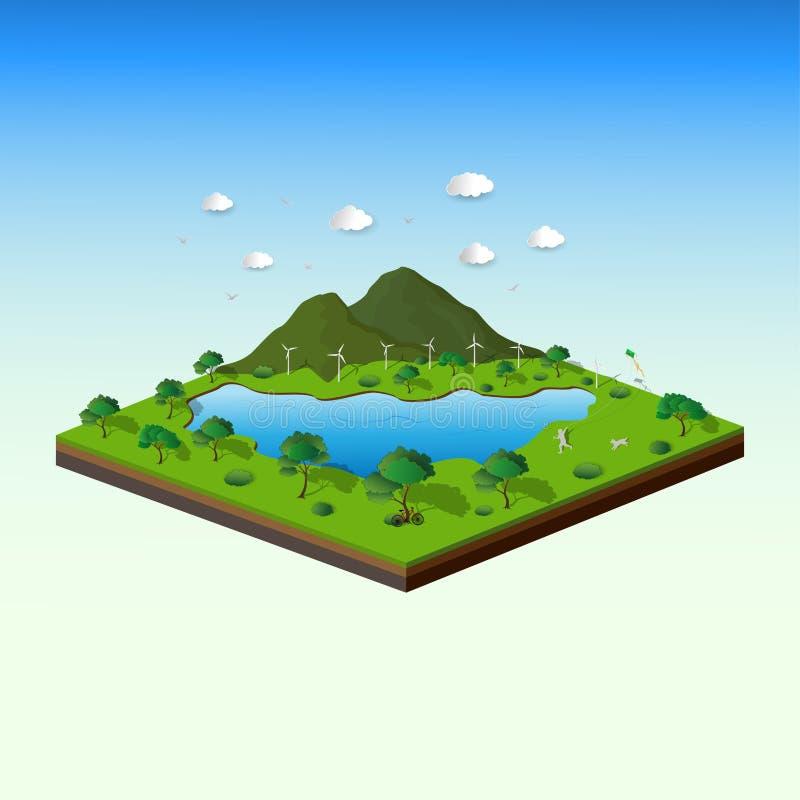 友好等量风景和的eco的概念与自然的,保存地球和世界环境 向量例证