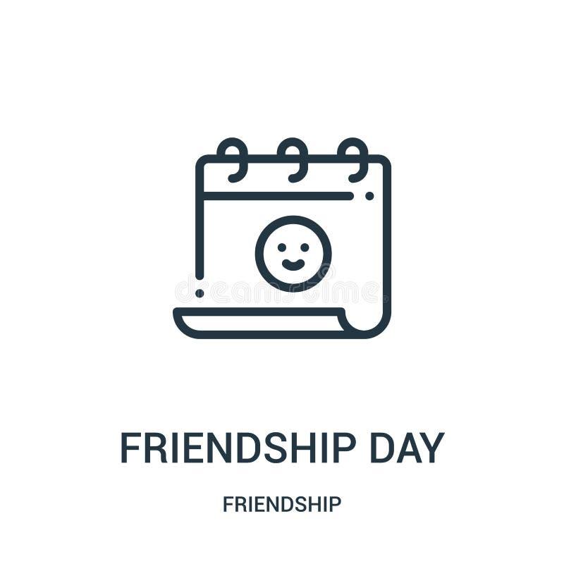 友谊天从友谊汇集的象传染媒介 稀薄的线友谊天概述象传染媒介例证 线性标志 库存例证