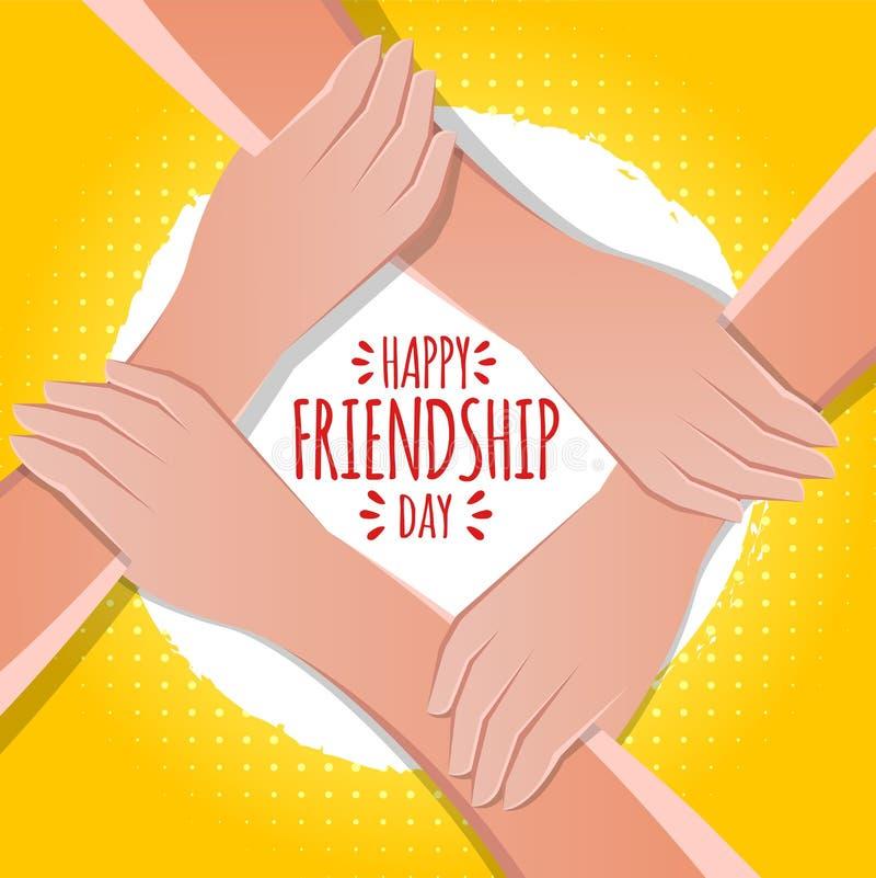 友谊天概念 举行的手储蓄传染媒介例证 贺卡设计为愉快的友谊天 库存例证