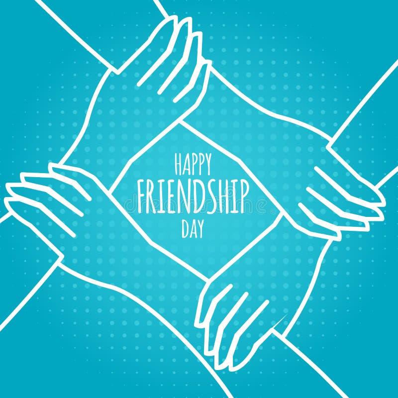 友谊天概念 举行的手储蓄传染媒介例证 贺卡设计为愉快的友谊天 向量例证