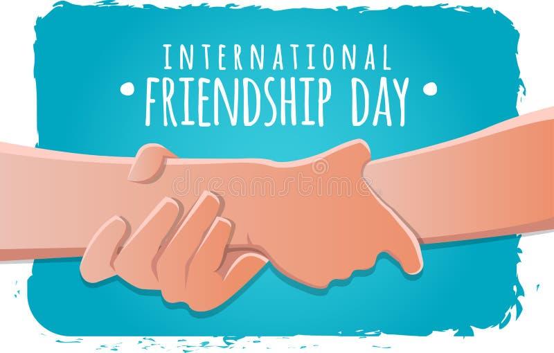 友谊天概念 举行的手强烈储蓄传染媒介例证 贺卡设计为愉快的友谊天 向量例证
