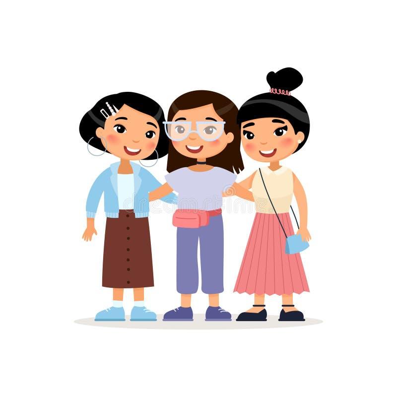 友谊天 三逗人喜爱亚洲少女拥抱 皇族释放例证