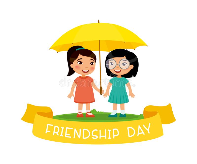 友谊天 两个逗人喜爱的矮小的亚裔女孩站立与一把黄色伞 向量例证