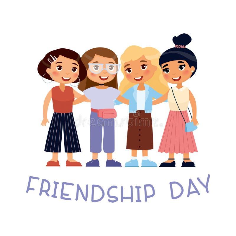 友谊天 四个年轻逗人喜爱女孩拥抱 库存例证