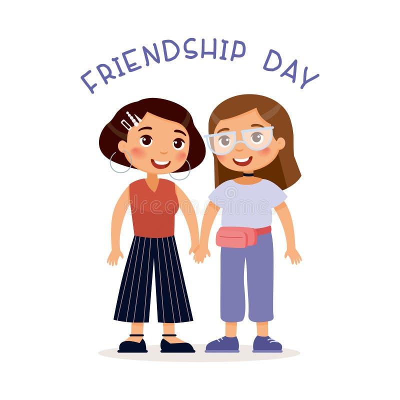 友谊天 握手的两个年轻逗人喜爱的女孩 皇族释放例证