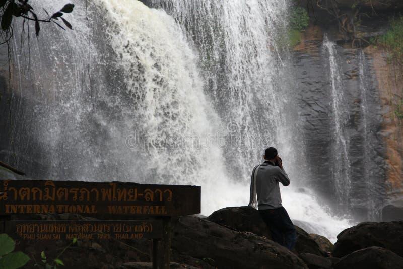 友谊瀑布泰国老挝人 免版税库存图片