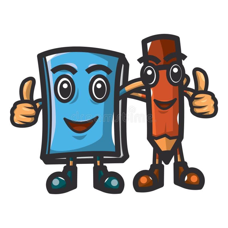 友谊的字符例证在书和铅笔之间的 教育价值,运用对于儿童课本例证 库存例证