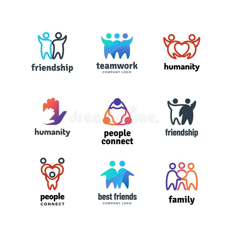 友谊社区友好的一起队人合作传染媒介商标集合 库存例证