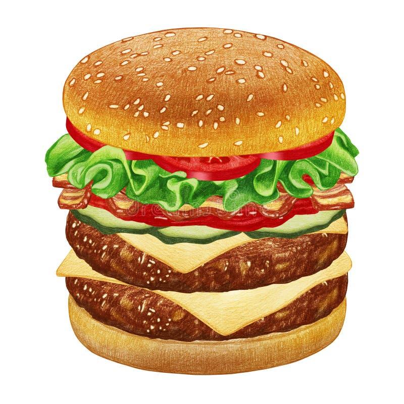 双乳酪汉堡 向量例证