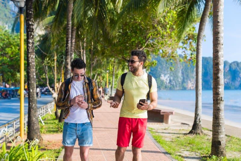 双人使用聊天网上假日海暑假的细胞巧妙的电话热带公园夫妇 免版税库存照片
