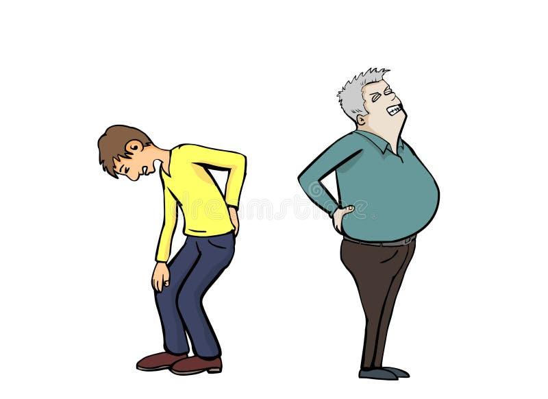 双人背部疼痛 库存例证