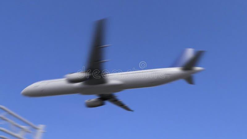 双到达对印第安纳波利斯机场的引擎商业飞机 旅行到美国概念性4K动画 股票录像
