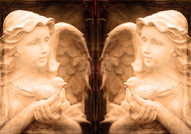 双天使雕象 免版税库存图片