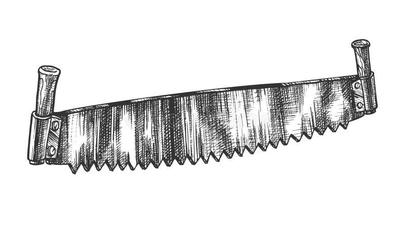 双头的锯老模型锯的日志传染媒介的 库存例证