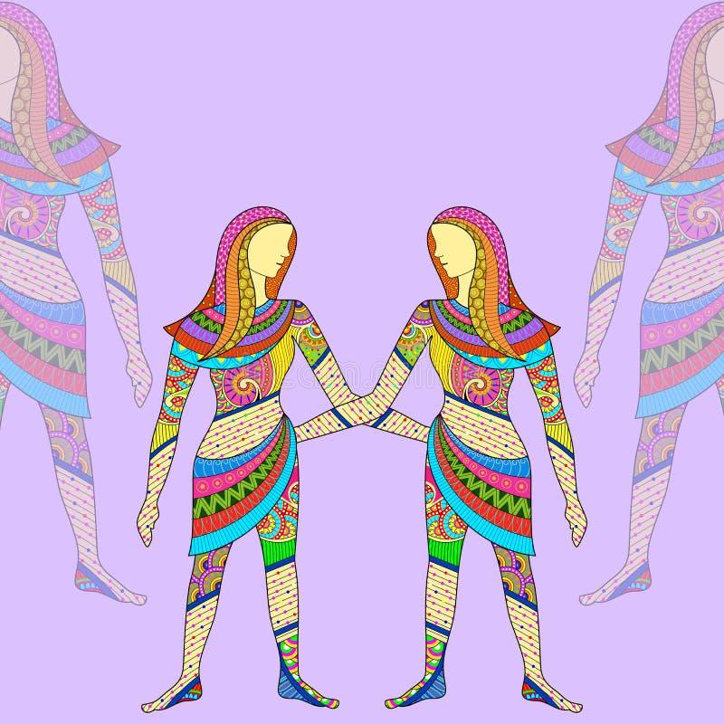 双子星座占星术黄道带标志 皇族释放例证
