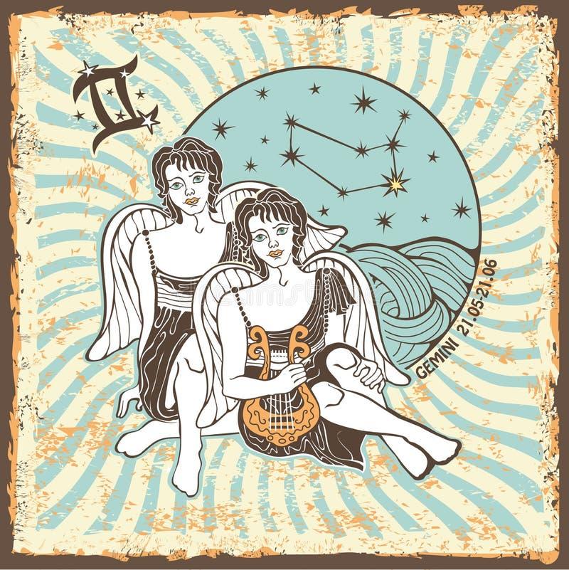 双子星座男孩黄道带标志 葡萄酒占星卡片 向量例证