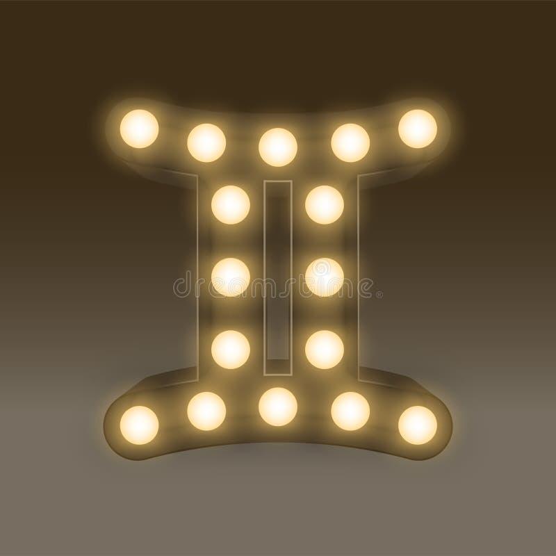 双子星座黄道带标志白炽光电灯泡箱子,例证浸泡 向量例证