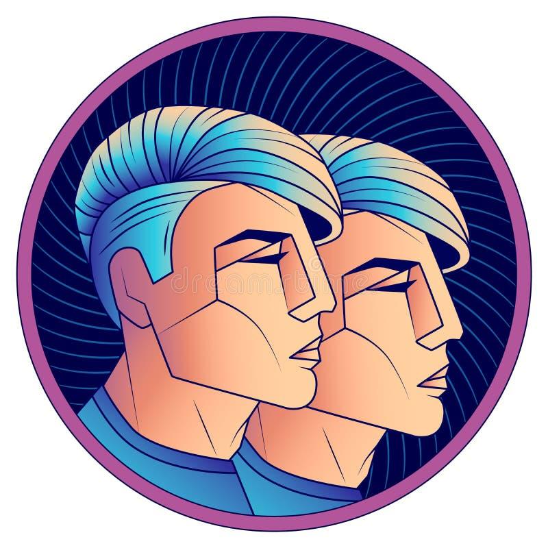 双子星座黄道带标志,时髦的现代发型咬边 库存例证