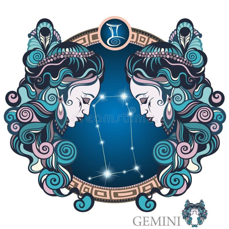 双子星座 艺术品设计符号符号十二多种黄道带 向量例证