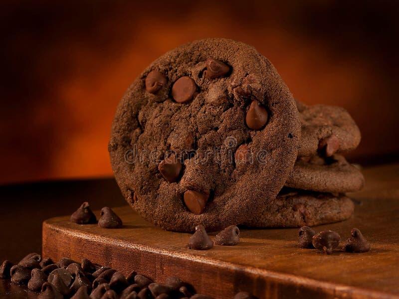 双巧克力曲奇饼 免版税库存照片