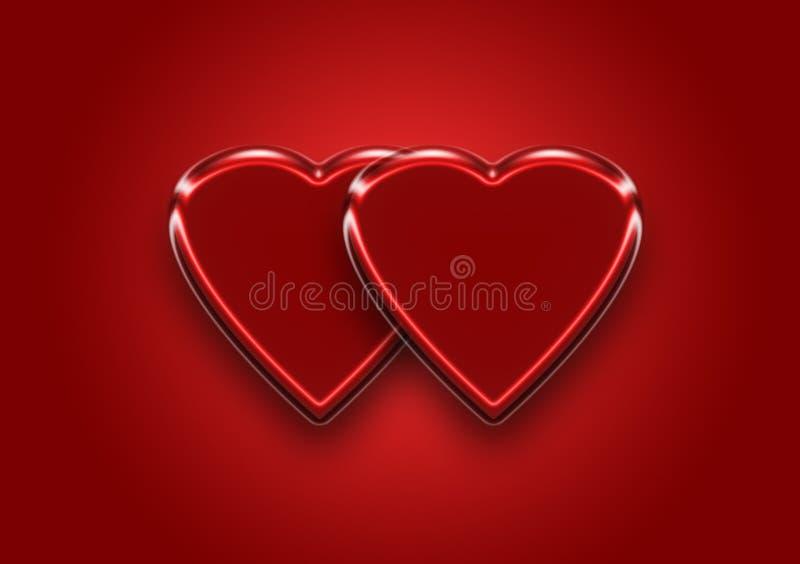 双心脏背景墙纸设计 向量例证