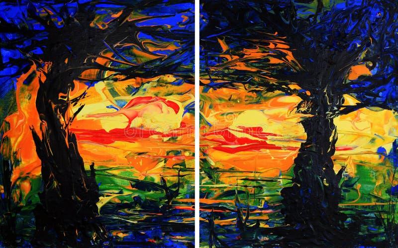 双折的画绘画结构树 皇族释放例证