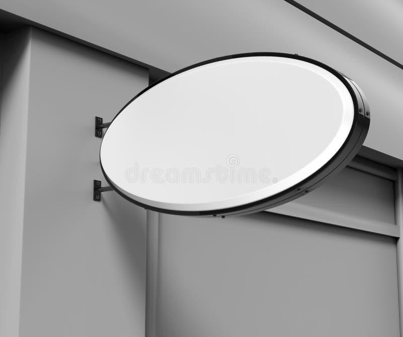双支持被点燃的标志板,被带领的焕发广告板,乙烯基在砖墙上的公司标志 3d例证回报 向量例证