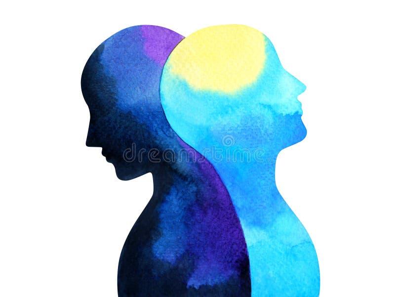 双极性障碍头脑精神健康连接水彩绘画 皇族释放例证