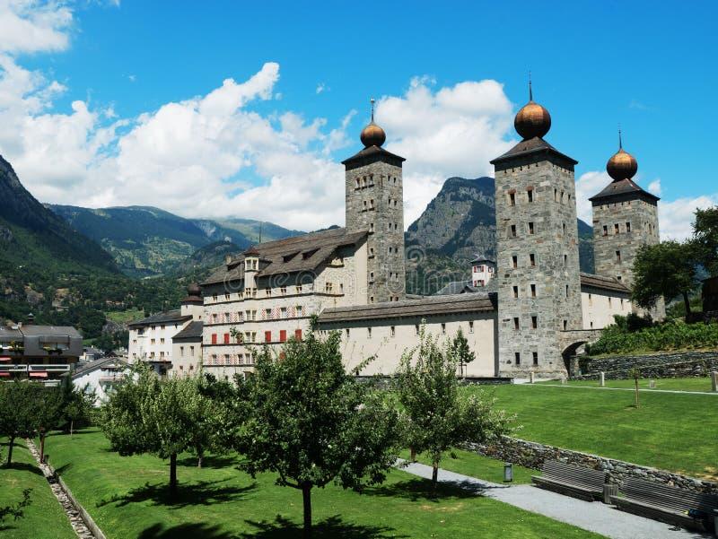 双桅船的,瑞士Stockalper宫殿 库存图片