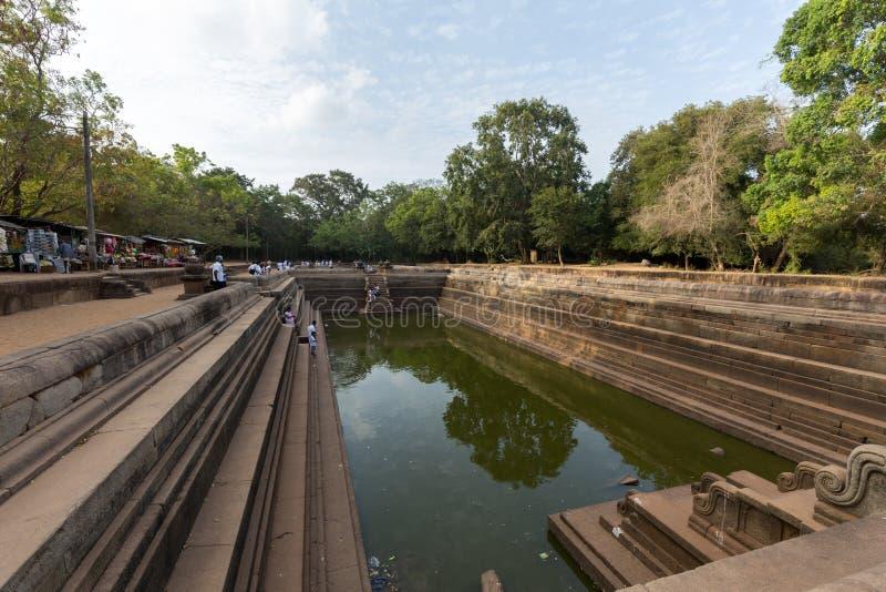 双池塘在阿努拉德普勒王国,斯里兰卡神圣的  库存图片
