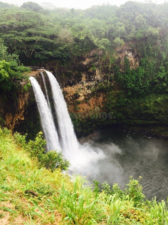 双瀑布在夏威夷 库存照片